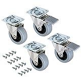 Emuca - Lote de 4 ruedas pivotantes para mueble Ø75mm con placa de montaje y rodamiento de bolas, ruedas de goma para muebles color gris