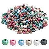 Mikihat 300 Piezas Cuentas de Madera Redonda, Abalorios de Colores, 6mm Bolas de Madera Natural para las Decoraciones de Pulseras Collares Joyería Fabricación de Bricolaje