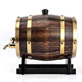 Barril de envejecimiento de roble, 3L Estilo retro Madera de roble Vino tinto Brandy Barril de whisky Contenedor de cubo de barril con grifo