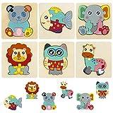 HellDoler 6 Piezas Puzzles de Madera de Animales,Rompecabezas de Madera Juguetes Montessori Juguetes Bebes para Niños de 1 2 3 4 5 Años