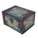 Atyhao Caja de Madera Vintage, Caja de Cofre del Tesoro Retro, Organizador de joyería, Caja de colección, Accesorio fotográfico, Adornos de Escritorio, 16x12.5x9 cm(Caja de almacenaje)
