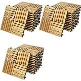 Deuba Set de 33 baldosas 'Quattro mosaïco' de madera de Acacia 30x30cm por 3m² Losas de terraza para jardín balcón spa o deck