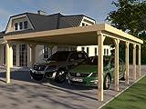 CarPort tejado plano Avus VI–600X 700cm Kvh montar construcción de madera maciza
