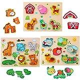 3D Animal Puzzles de Madera para Bebé,Pack de 3 animales de 18 tipos Rompecabezas Habilidad motora fina Aprendizaje temprano Juego educativo preescolar Montessori Juguetes para 2 3 4 años Niños Niñas
