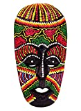 Bali PAPAYA - Máscara de madera étnica decorativa con estatua africana tribal de totem aborigen, África, 19 cm pintada