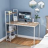 Escritorio para ordenador con 4 estantes de almacenamiento – Mesa de estudio con estantería moderna de madera con marco de acero para espacios pequeños, hogar, oficina, estación de trabajo
