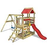 WICKEY Parque infantil de madera TurboFlyer con columpio y tobogán rojo, Torre de escalada de exterior con arenero y escalera para niños