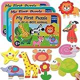 3 Pack 6 en 1 Puzzle de Madera Animales Rompecabezas Puzzle Juguetes Bebes Puzzles de Madera con Caja de Metal Juguetes Educativos para Bebes Niños Niñas Juguetes Niños 1 2 3 4 Años