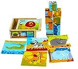 TOWO Bloques de Rompecabezas de Madera - 9 Piezas de Cubos de Animales en Caja de Madera - Puzzle Cubos para niños - Juguetes Educativos 2 Años - Bloques Logicos Madera - Juguetes Niños 2 Años