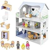 Mamabrum Casa de Muñecas de Madera para Niños y Niñas - Casa de Muñecas Grande con 3 Pisos y Terraza - 3 Muñecos, Muebles y Accesorios Incluidos - Hecho con Pintura Ecológica