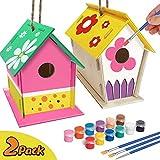 Zhihongfeng Arts and Crafts Bird House para niños de 4 a 8 años, Bricolaje Propia casa de pájaros de Madera para niños, Construir y Pintar pajareras, Juguetes educativos para niños y niñas