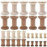Saijer - 60 bobinas de madera con protección del medio ambiente, carrete de madera, carrete decorativo duradero para la fijación de hilo