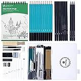 Lapices de Dibujo Artistico 50 Piezas Set de Dibujo Profesional con Bosquejo Carbón Grafito Sticks, Bloc de Dibujo 100 hojas, Caja Portátil para Artista Principiante Estudiante Niños y Adultos