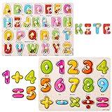 GWHOLE Juguete de Aprendizaje Tablero Letra y Número Puzzle de Madera Juegos para Niño, Juguete Educativos Infantiles