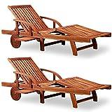 Deuba 2 x Tumbonas de Madera de Acacia Tami Sun con mesa plegable reposapies ajustable para jardín interior y exterior