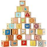 Lewo Rompecabezas de Madera Bloques de ABC Juegos de Construcción Extra Grande 26 PCS Conjunto de Bloques de Letras del Alfabeto Montessori Juguetes Educativos para Niños Pequeños