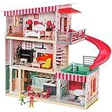 TOP BRIGHT Casa de muñecas con muebles y muñecas, casa de muñecas de madera para niñas de 3 años en adelante, 18 muebles con sonidos y luces