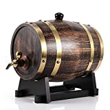 Barril de vino 3L, barril de vino de madera de roble de estilo retro con grifo para el hogar, cafetería, casa de té, restaurante