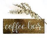 Letrero de bar de café, para boda, café, boda, café, bares, tazas con texto en inglés 'But First Coffee Rustic', de madera, impreso a mano, decoración de pared