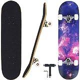 Seasonland Tabla de skate de 7 capas de 78,7 x 20,3 cm, tabla de skate completa de madera de arce para adolescentes, adultos, principiantes, niñas, niños y niños (tiempo)