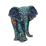 Elefante Tribal Puzzle de madera con forma única de animales para adultos y niños, 156 piezas