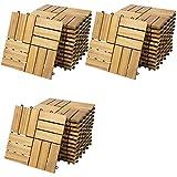 Deuba Set de 33 baldosas 'Mosaïco' de madera Acacia 30x30 cm por 3m² Losas de terraza para jardín balcón spa o deck