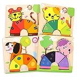 Puzzles de Madera, joylink 4 Piezas Rompecabezas de Madera Bebes Puzzles de Madera Educativos Juguetes para Bebes Montessori Educativos Rompecabezas Juegos para Niños1 2 3 Años