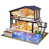 Duokon Kit de casa de muñecas en Miniatura DIY Casa Verde con Muebles Casa de muñecas de Madera LED El Mejor Ornamento Decorativo para niño niño (sin Cubierta Protectora)