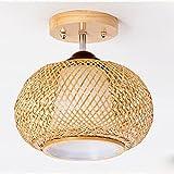DROMEZ Lámpara de Techo Ratán Madera, Retro Plafon Techo de bambú Tejida con Ratán, E27 Creativa Lámpara Hecha a Mano para Dormitorio Salón Restaurante Lámpara de Pasillo