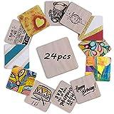 Integrity.1 Placa Cuadrada de Madera MDF, 24 Piezas de Tablones de Madera DIY, Posavasos de Madera para Decoraciones de Regalos, Manualidades, Pirograbado, álbum de Recortes (100 mm)