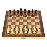 qianbanger Ajedrez de Madera 3 en 1, Juego de Tablero de ajedrez de Madera Plegable, Juego de Rompecabezas de Damas, Juego de Mesa de Regalo de Compromiso para niños, 44x44cm