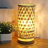 Depuley - Lámpara de mesa con pantalla de bambú, lámpara de lectura, luz cálida E14, diseño moderno de bambú y madera de goma, lámpara hecha a mano (LED de 5 W incluido)