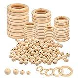 Anillos de Madera, 50 piezas de Anillos de Madera 80 piezas de cuentas de madera de macramé, kit de anillos de madera para manualidades, perchas de macramé, manualidades para colgar en la pared