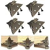 FomCcu 4 piezas de latón antiguo para joyería de madera, patas protectoras de esquina para muebles, decoración de regalos