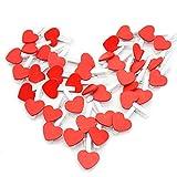 100 clips de madera para fotos, mini pinzas de madera en forma de corazón, clips de fotos de colores, para bodas, tarjetas de fotos, para colgar fotos, decoración de fiestas (rojo)