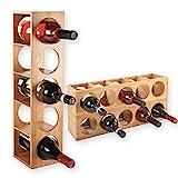 Gräfenstayn 30543 Botelleros CUBE - apilable de madera de bambú para 5 botellas de vino para la colocación, la colocación o el montaje en la pared, expandible, tamaño 13,5x12x53 cm (LxAnxAl) portabidones de vino