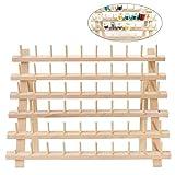 ULTNICE Soporte de hilo Soporte de madera 60 Soporte de carrete Organizador de hilo Soporte de pared plegable de cono