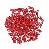 ounona Mini Pinzas de Madera decorativa Pinzas fotográfico Clips para bricolaje DIY Quickdraw 100unidades), madera, rojo, 2,5 x 0,3 cm
