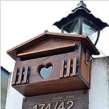 Mzl European Solid Wood Villa Buzón de Madera Caja de Documentos Exterior Impermeable Montado en la Pared con llave31 * 18 * 10 cm