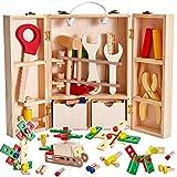Buyger Madera Caja Herramientas Juguetes, Bloques de Construcción Banco de Herramientas para Niño Juegos de Rol Regalos para Niños Niñas 3 4 5 6 Años