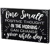 7,87 Pulgadas Letrero de Motivación de Madera Cartel de Palabra Inspiradora Grande de Caja Placa de Madera Negra de Conversación Decoración de Pared Escritorio de Pensamiento Positivo