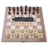 YOUTHINK Juego de ajedrez de Madera, Juego de Mesa 3 en 1 para niños y Adultos Ajedrez, Damas, Backgammon para Principiantes Juego de Mesa de Viaje portátil de Tablero Plegable