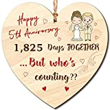 Placa de Madera de Feliz Aniversario Placa de Corazón Colgante de Madera Hecha a Mano Celebrar Aniversario de Bodas para Marido Esposa Alguien Recuerdo (5th Wedding Anniversary Plaque)
