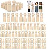 Woohome 80 Pz Muñecas de Madera Peg Inacabado Personas de Madera Muñecas de Madera Juguete de Madera para Proyectos de Manualidades para Niños, Pintura, Juegos, 4 Tamaños