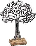 Lifestyle & More Escultura Moderna decoración Figura árbol de la Vida Hecha de Madera de Mango y Aluminio Altura 27 cm