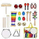 Ulifeme Instrumentos Musicales para Infantil, 25pcs Juguetes Músicales de Percusion para Bebes, Xilófono Madera Set de Instrumentos Musicales para Niños Juegos Musical con Una Bolsa de Transporte