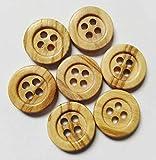 50 Botones de madera natural de 4 agujeros (12 mm) - Madera de Olivo - Madera Clara - Accesorio Costura * Fabricado y Enviado desde ESPAÑA *