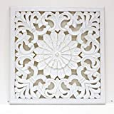 -Mandala de Pared, Fabricada artesanalmente en España- tamaño 60x60 cm, Modelo GR 81. Forma Cuadrada (Blanco DECAPE)