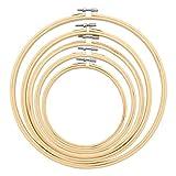 Mengxin 5 Piezas Bastidor para Bordado de Bambú Ajustable Aros para Bordar a Mano Aros de Madera para Manualidades 15/18/20/23/27 cm