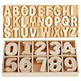 216-Pcs Juego de letras y números de madera - Números de letras mayúsculas de madera con bandeja de almacenamiento - Alfabeto de madera Letras artesanales Números de madera natural suave para manualid